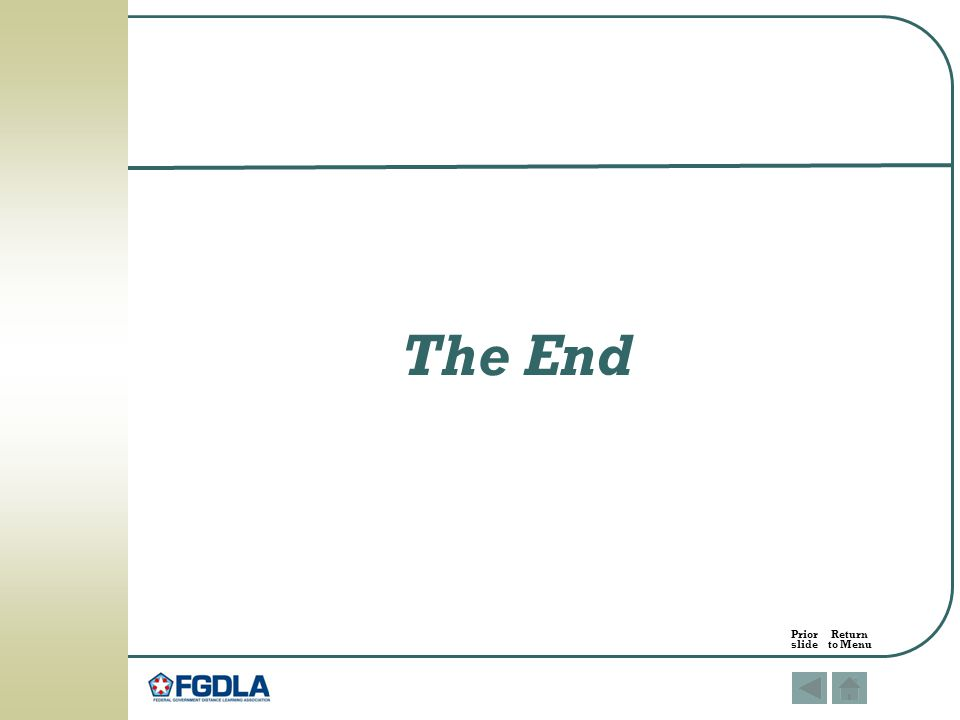 The End Prior Return slide to Menu
