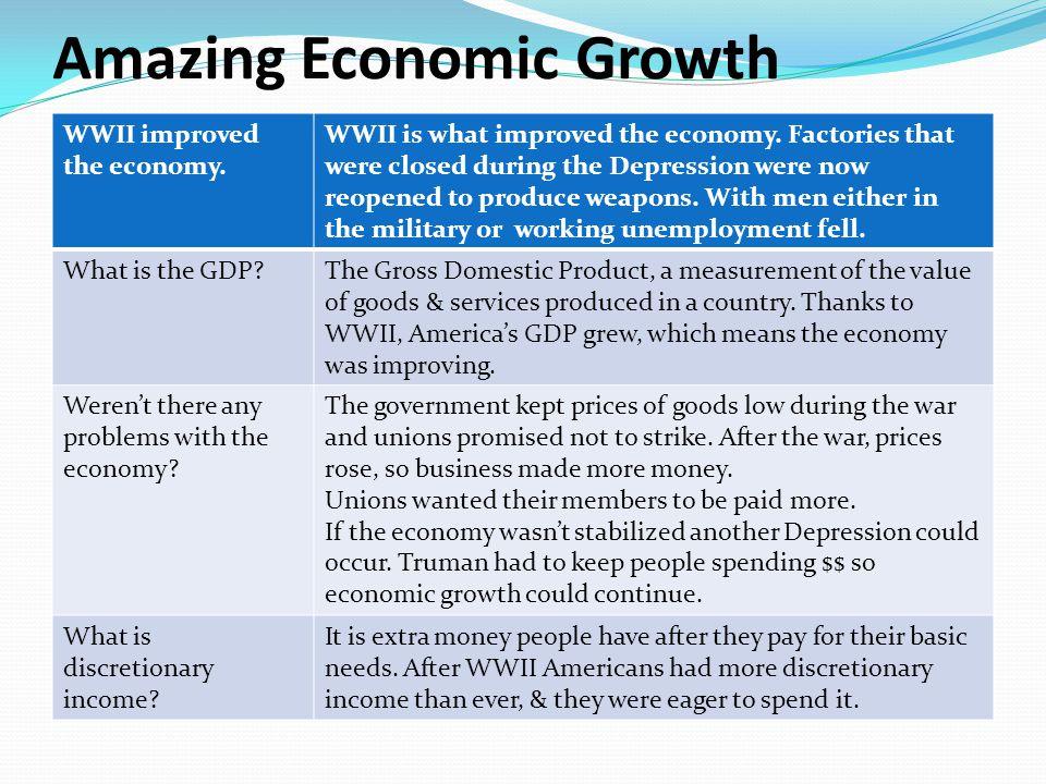 Amazing Economic Growth WWII improved the economy.