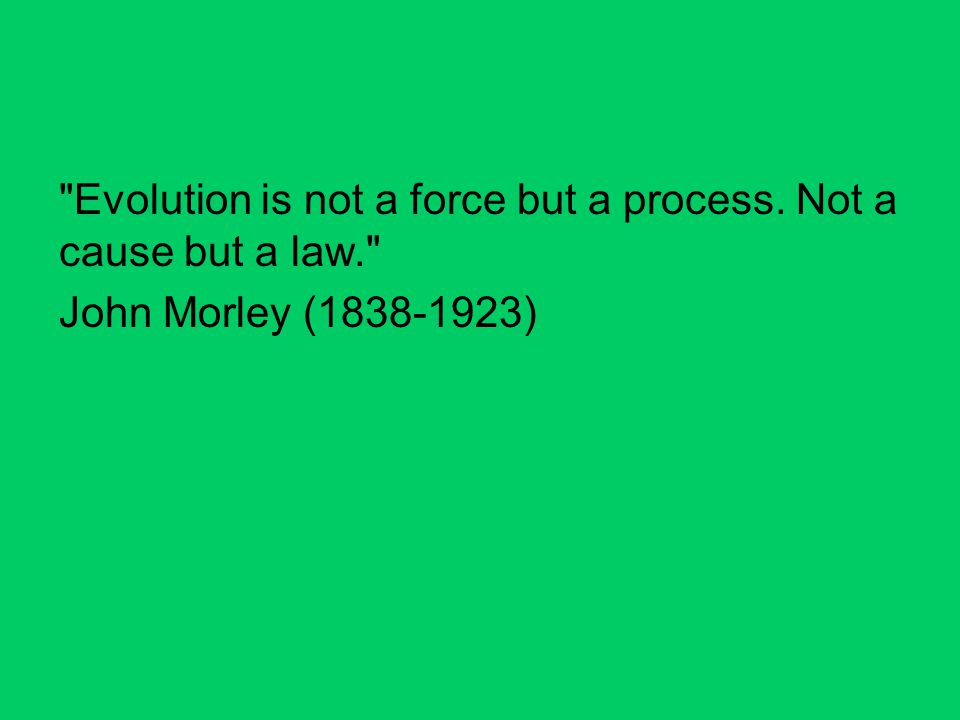 Evolution is not a force but a process. Not a cause but a law. John Morley (1838-1923)