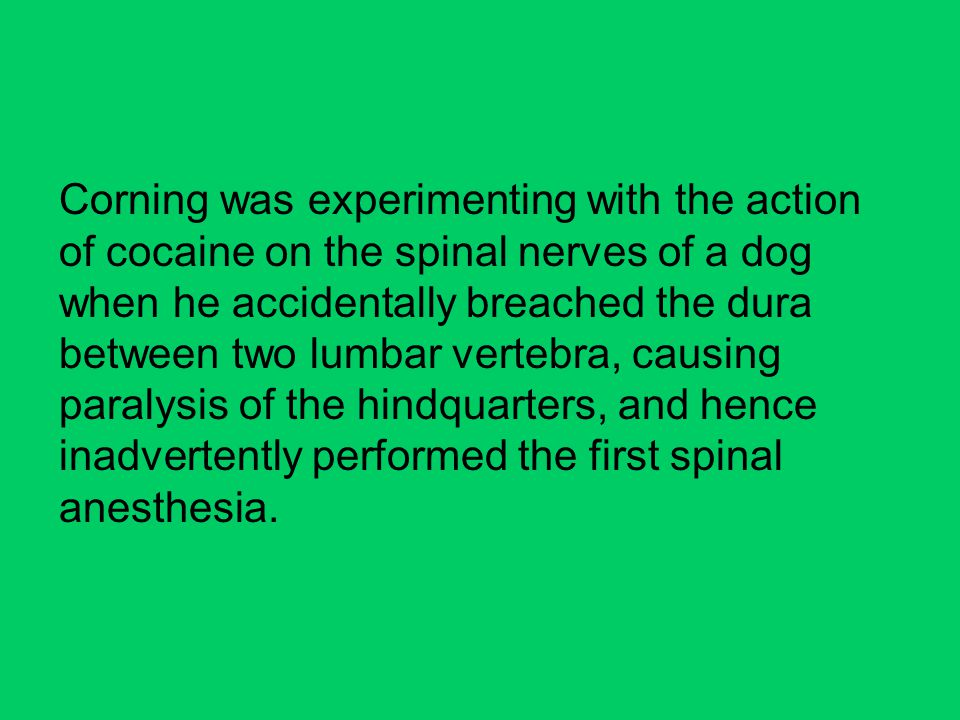 Corning was experimenting with the action of cocaine on the spinal nerves of a dog when he accidentally breached the dura between two lumbar vertebra, causing paralysis of the hindquarters, and hence inadvertently performed the first spinal anesthesia.