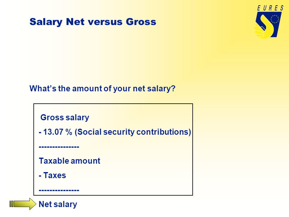 Salary Net versus Gross What's the amount of your net salary.