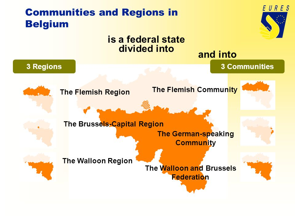 is a federal state divided into 3 Regions and into 3 Communities The Flemish Region The Brussels-Capital Region The Walloon Region The Flemish Community The German-speaking Community The Walloon and Brussels Federation Communities and Regions in Belgium