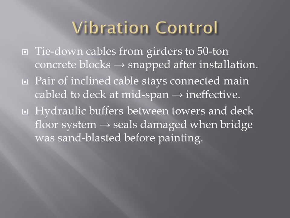  Tie-down cables from girders to 50-ton concrete blocks → snapped after installation.