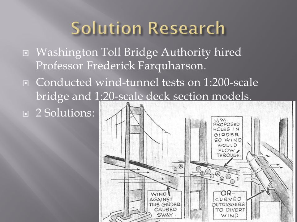  Washington Toll Bridge Authority hired Professor Frederick Farquharson.  Conducted wind-tunnel tests on 1:200-scale bridge and 1:20-scale deck sect