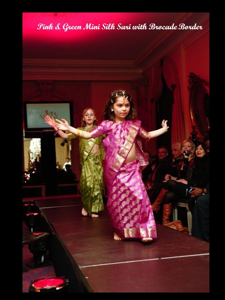 Pink & Green Mini Silk Sari with Brocade Border