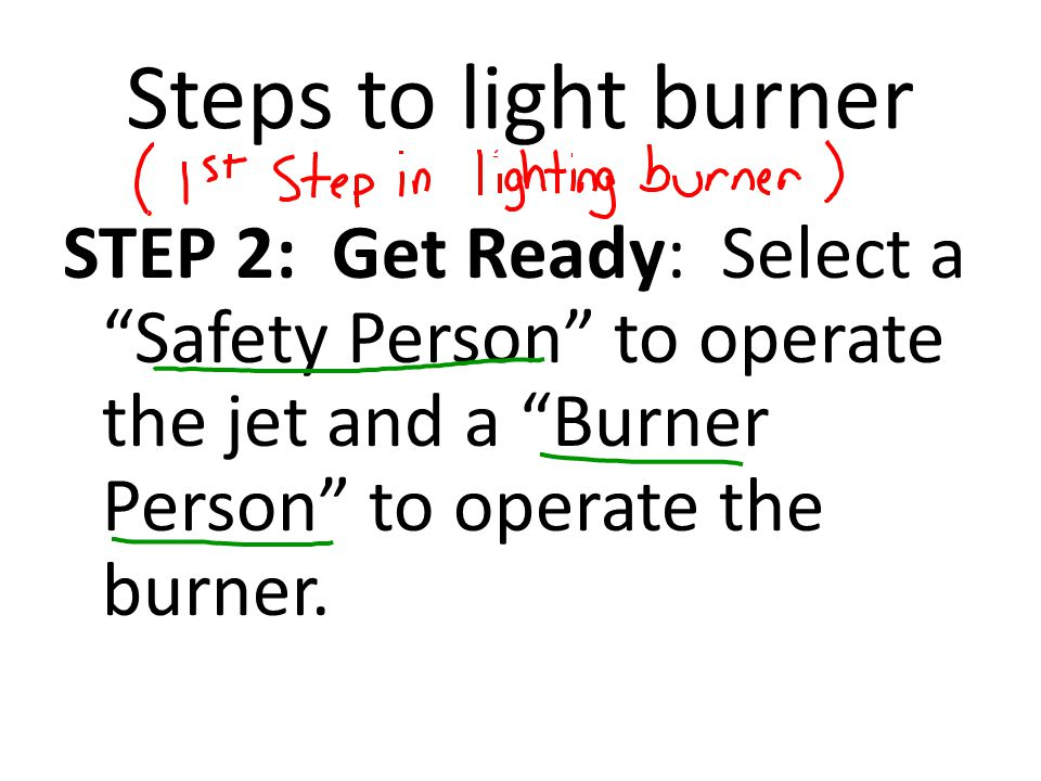 Steps to light burner STEP 3: Check System: Check the tightness of the gas tube connections.