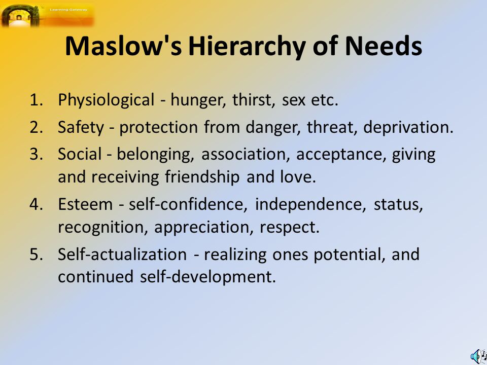 Maslow s Hierarchy of Needs 1.Physiological - hunger, thirst, sex etc.
