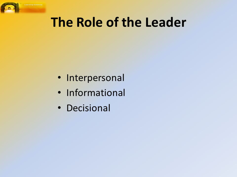 The Role of the Leader Interpersonal Informational Decisional