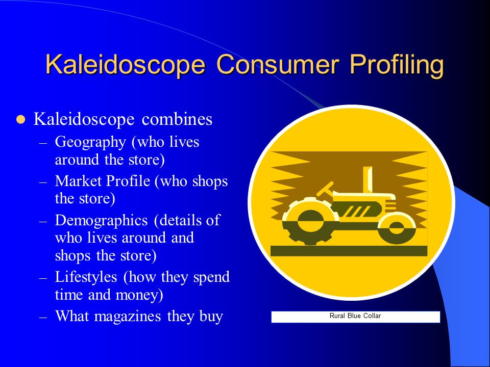 Kaleidoscope Consumer Profiling Kaleidoscope combines – Geography (who lives around the store) – Market Profile (who shops the store) – Demographics (details of who lives around and shops the store) – Lifestyles (how they spend time and money) – What magazines they buy Rural Blue Collar