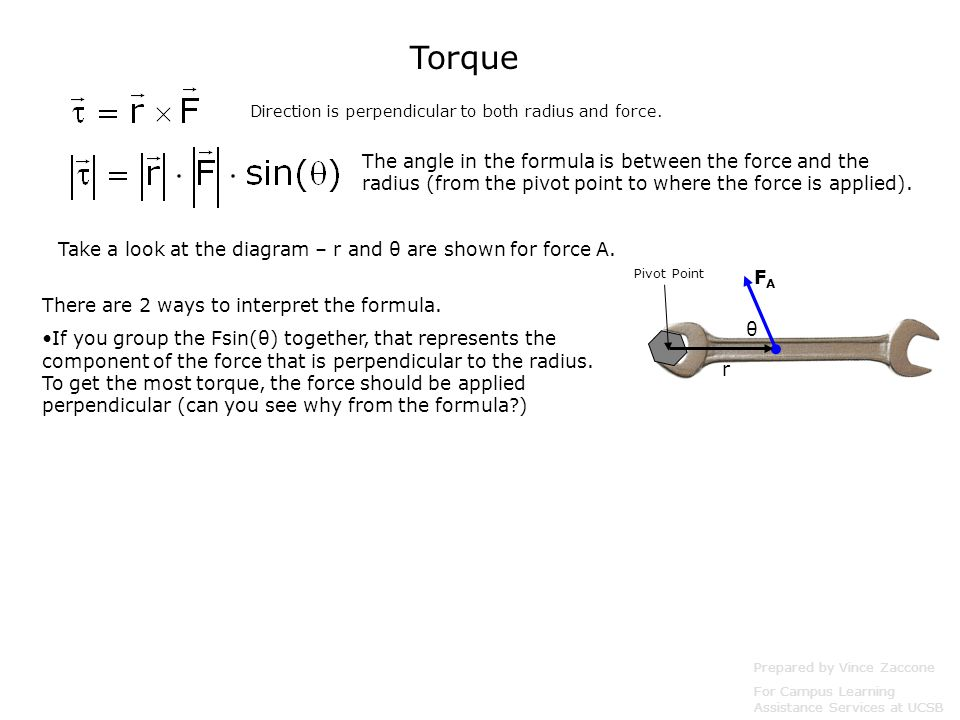 Torque Direction is perpendicular to both radius and force.