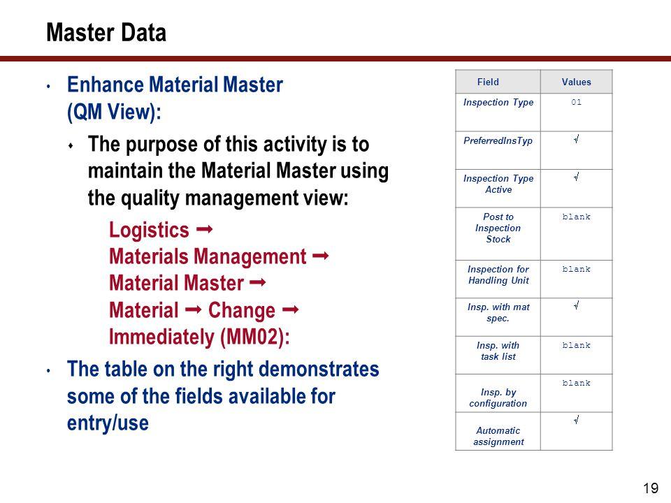 20 Master Data (cont.) 1.