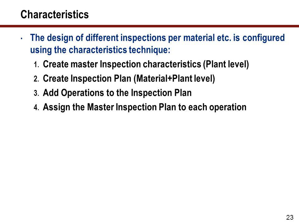 Create Master Inspection Characteristics (Plant Level)