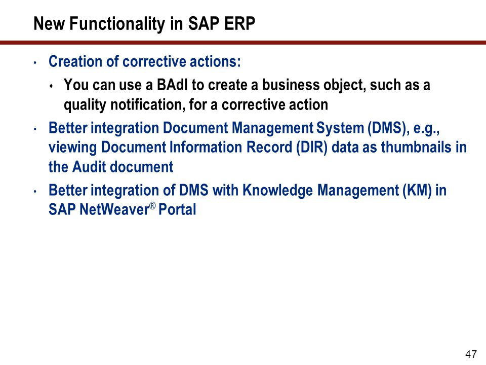 48 What We'll Cover … Why use SAP Quality Management (QM).