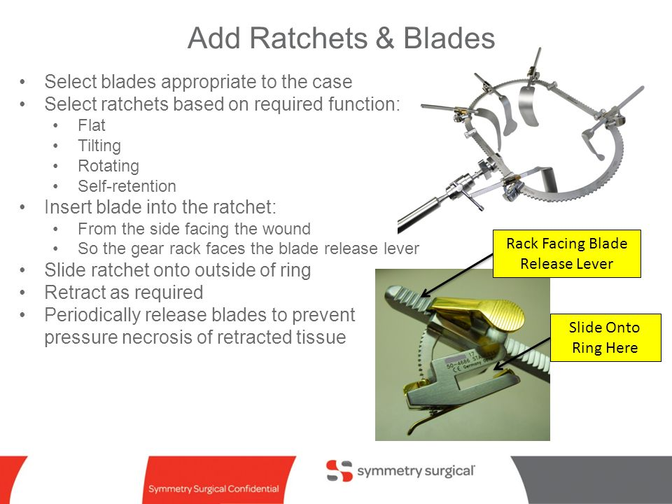 symmetry surgical confidential Add Ratchets & Blades Select blades appropriate to the case Select ratchets based on required function: Flat Tilting Ro