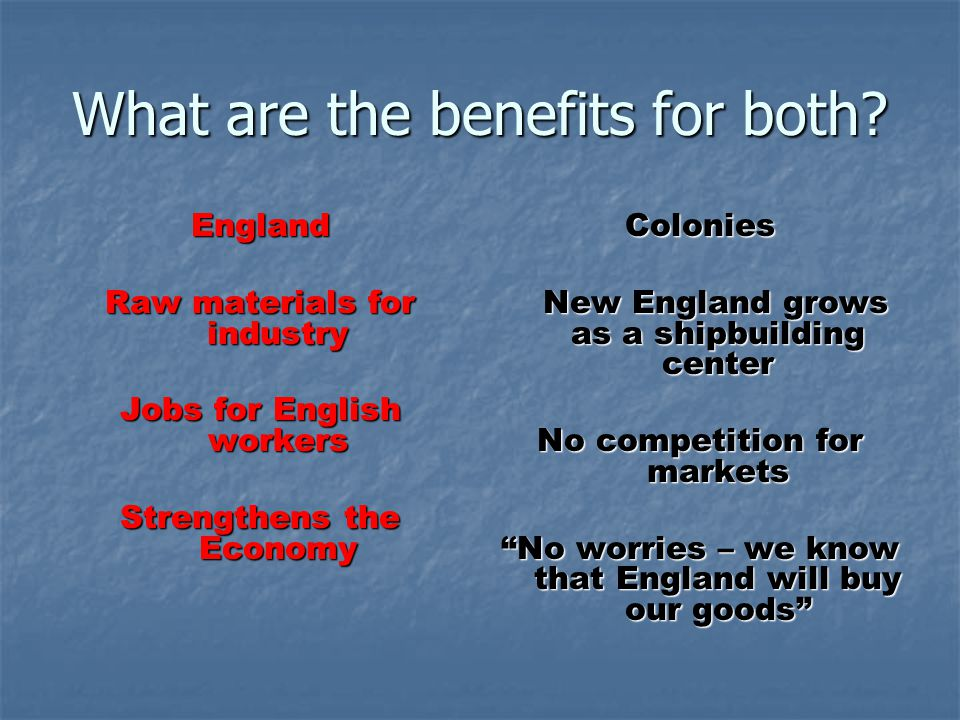 What are the benefits for both? England Raw materials for industry Jobs for English workers Strengthens the Economy Colonies New England grows as a sh