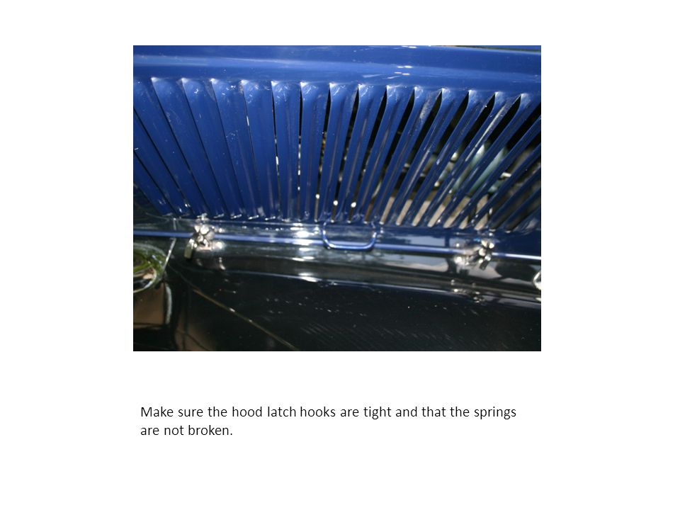 Make sure the hood latch hooks are tight and that the springs are not broken.