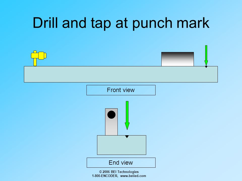 © 2006 BEI Technologies 1-800-ENCODER, www.beiied.com Drill and tap at punch mark Front view End view