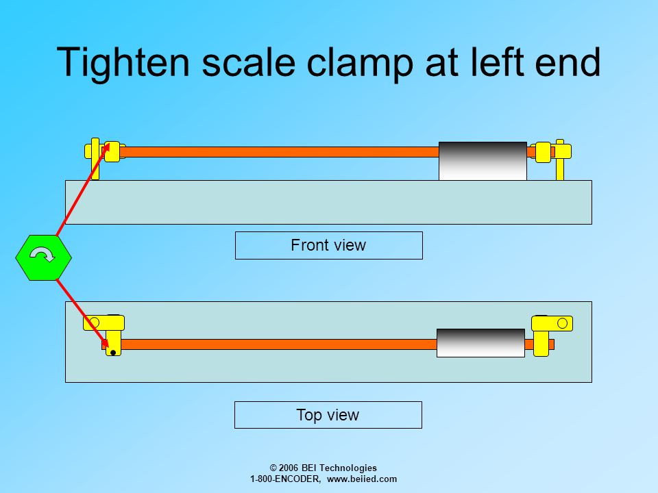 © 2006 BEI Technologies 1-800-ENCODER, www.beiied.com Tighten scale clamp at left end Front view Top view