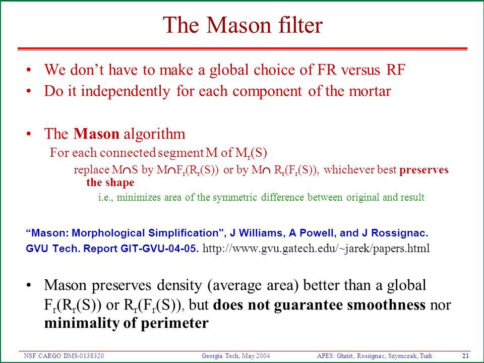 APES: Ghrist, Rossignac, Szymczak, Turk20 NSF CARGO DMS-0138320 Georgia Tech, May 2004 Which is better: FR or RF.