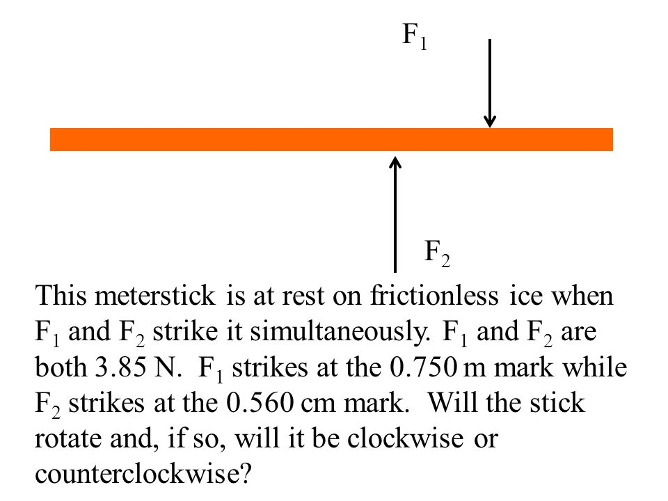 F1F1 F2F2 This meterstick is at rest on frictionless ice when F 1 and F 2 strike it simultaneously. F 1 and F 2 are both 3.85 N. F 1 strikes at the 0.