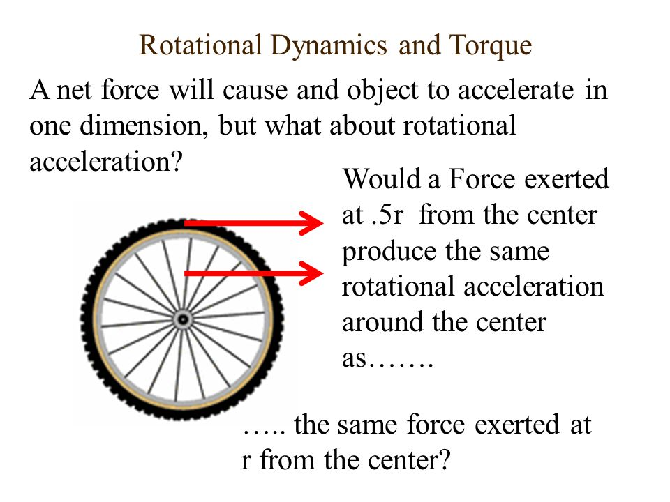 Rotational Dynamics and Torque A net force will cause and object to accelerate in one dimension, but what about rotational acceleration? Would a Force