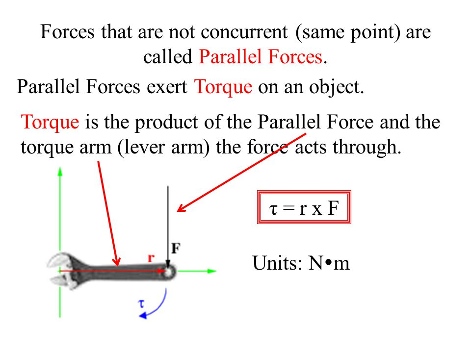 Forces that are not concurrent (same point) are called Parallel Forces. Parallel Forces exert Torque on an object. Torque is the product of the Parall