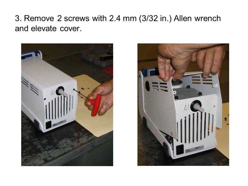 3. Remove 2 screws with 2.4 mm (3/32 in.) Allen wrench and elevate cover.
