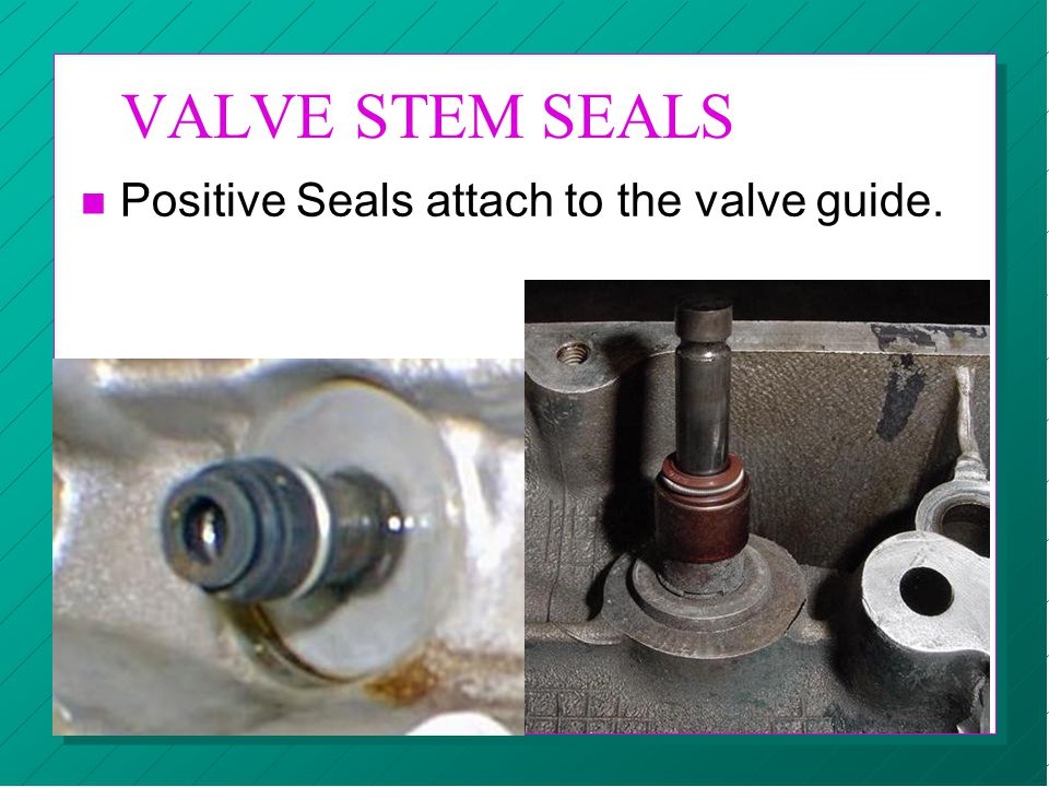 VALVE STEM SEALS n Positive Seals attach to the valve guide.