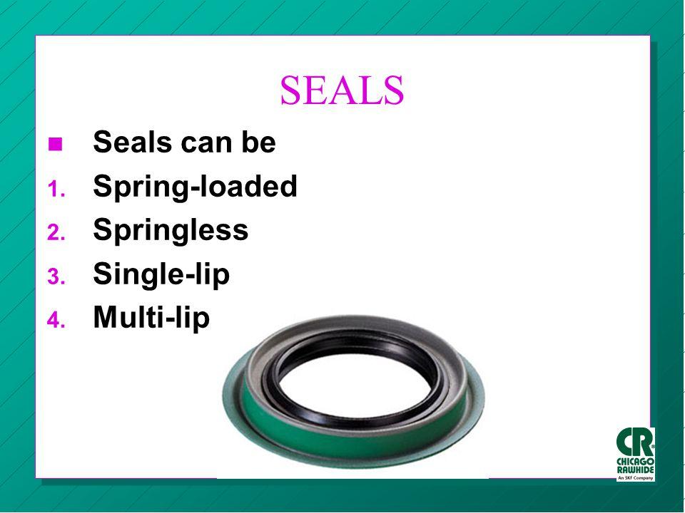 SEALS n Seals can be 1. Spring-loaded 2. Springless 3. Single-lip 4. Multi-lip