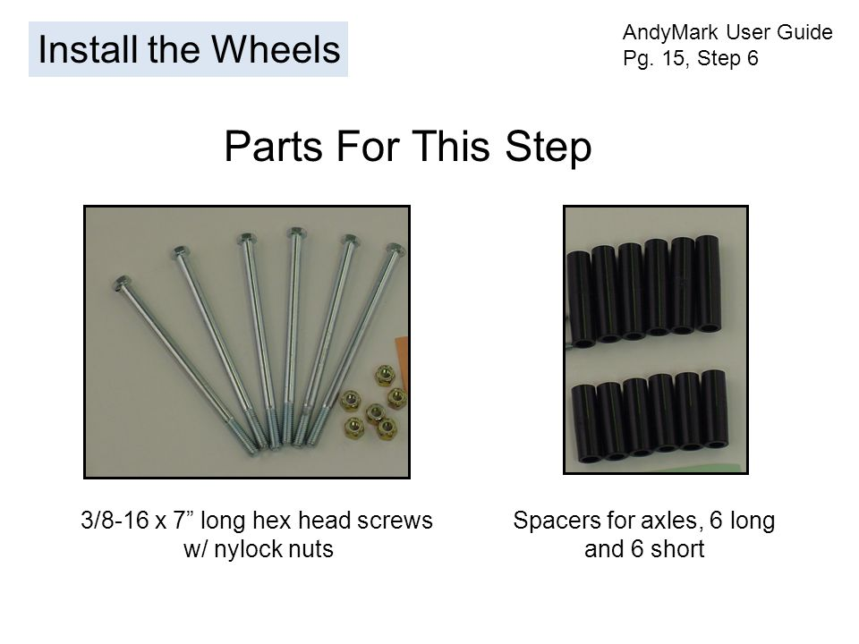 Install the Wheels AndyMark User Guide Pg.