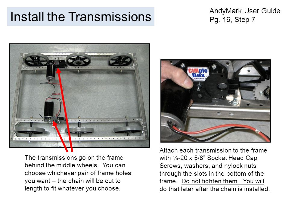Install the Transmissions AndyMark User Guide Pg.