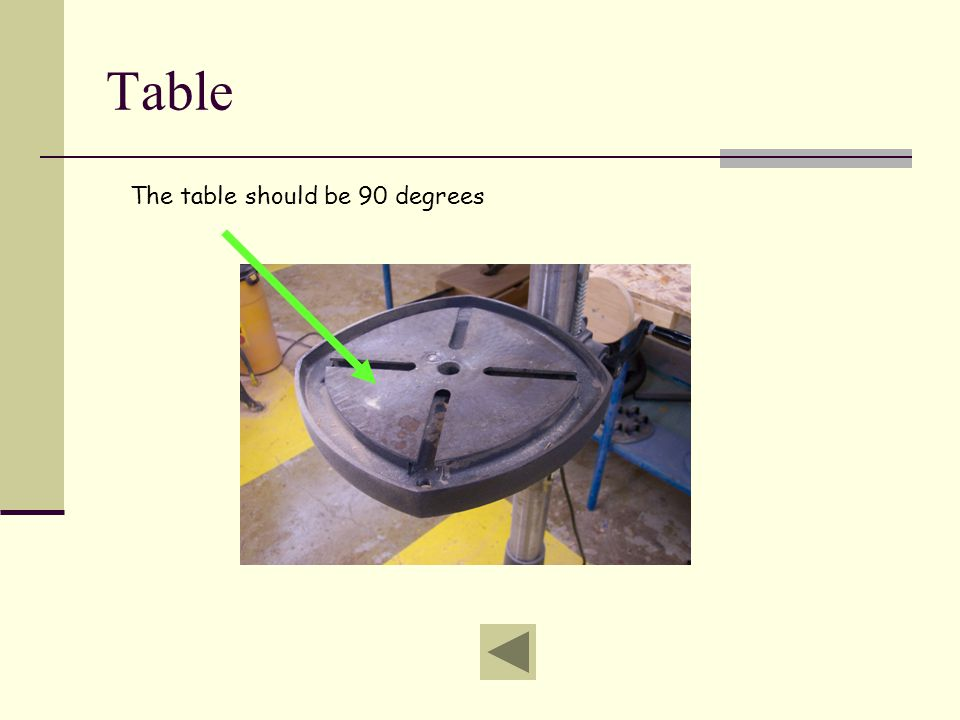Table The table should be 90 degrees