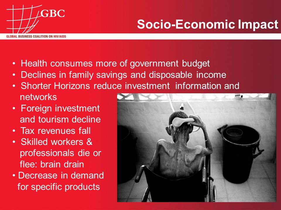 Health consumes more of government budget Declines in family savings and disposable income Shorter Horizons reduce investment information and networks Foreign investment and tourism decline Tax revenues fall Skilled workers & professionals die or flee: brain drain Decrease in demand for specific products Socio-Economic Impact