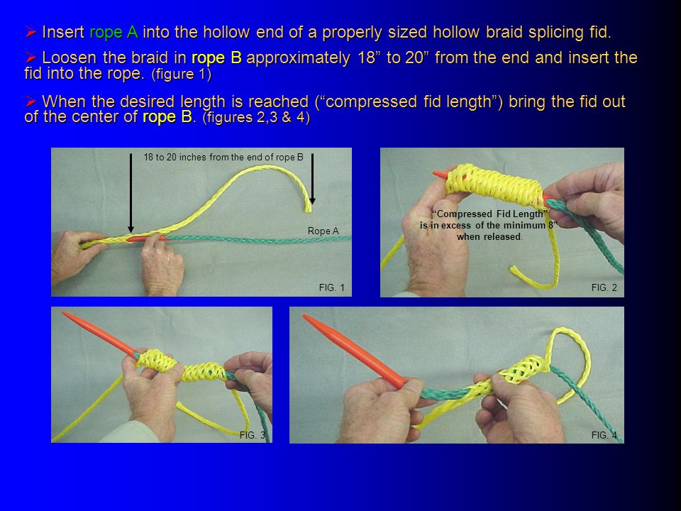 " Insert rope A into the hollow end of a properly sized hollow braid splicing fid.  Loosen the braid in rope B approximately 18"" to 20"" from the end"