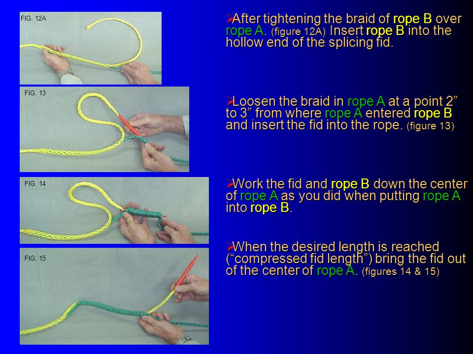  After bringing the fid out of the center of rope A tighten the braid of rope A while holding the point where rope B entered rope A (fig.