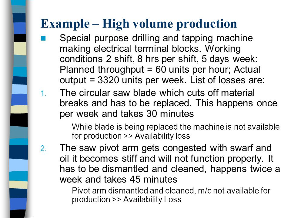 Example – High volume production Special purpose drilling and tapping machine making electrical terminal blocks.