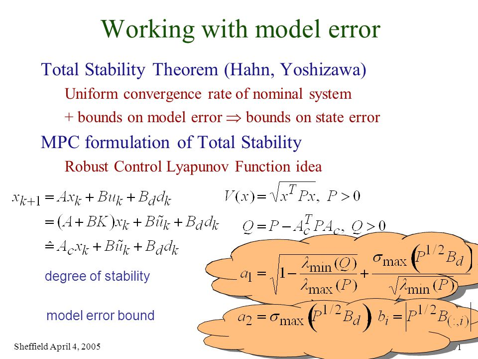 Sheffield April 4, 2005 11 of 31 Working with model error Total Stability Theorem (Hahn, Yoshizawa) Uniform convergence rate of nominal system + bounds on model error  bounds on state error MPC formulation of Total Stability Robust Control Lyapunov Function idea degree of stability model error bound