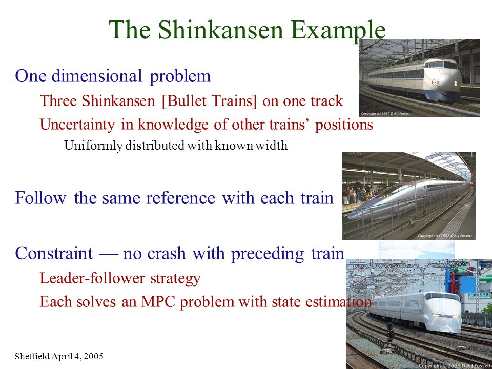 Sheffield April 4, 2005 19 of 31 The Shinkansen Example One dimensional problem Three Shinkansen [Bullet Trains] on one track Uncertainty in knowledge of other trains' positions Uniformly distributed with known width Follow the same reference with each train Constraint — no crash with preceding train Leader-follower strategy Each solves an MPC problem with state estimation
