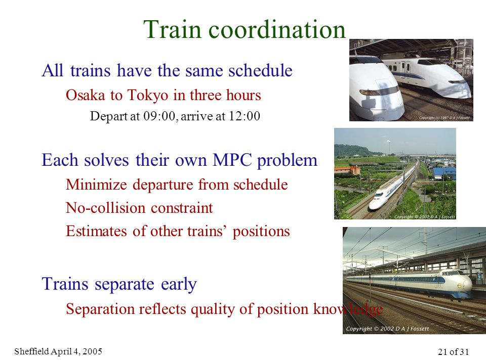 Sheffield April 4, 2005 21 of 31 Train coordination All trains have the same schedule Osaka to Tokyo in three hours Depart at 09:00, arrive at 12:00 Each solves their own MPC problem Minimize departure from schedule No-collision constraint Estimates of other trains' positions Trains separate early Separation reflects quality of position knowledge