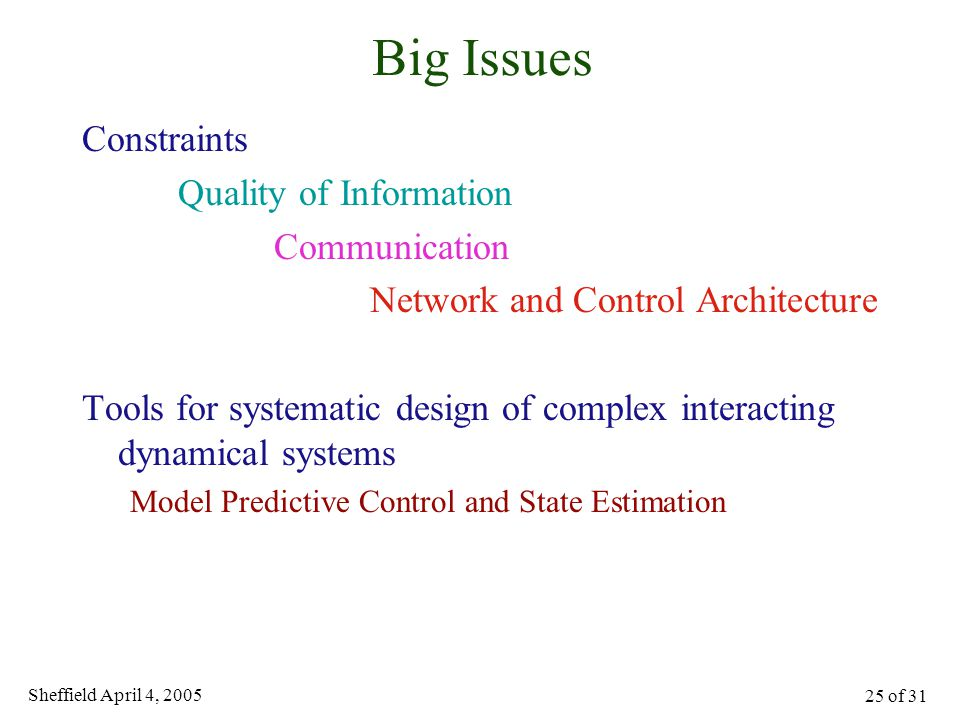 Sheffield April 4, 2005 25 of 31 Big Issues Constraints Quality of Information Communication Network and Control Architecture Tools for systematic des