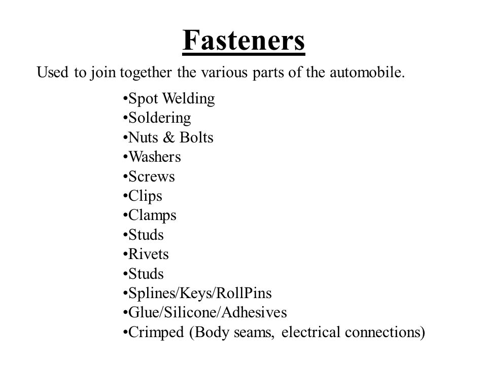 Fasteners External Threads (Male Threads) Bolts, Studs, Screws Internal Threads (Female Threads) Nuts, Threaded holes