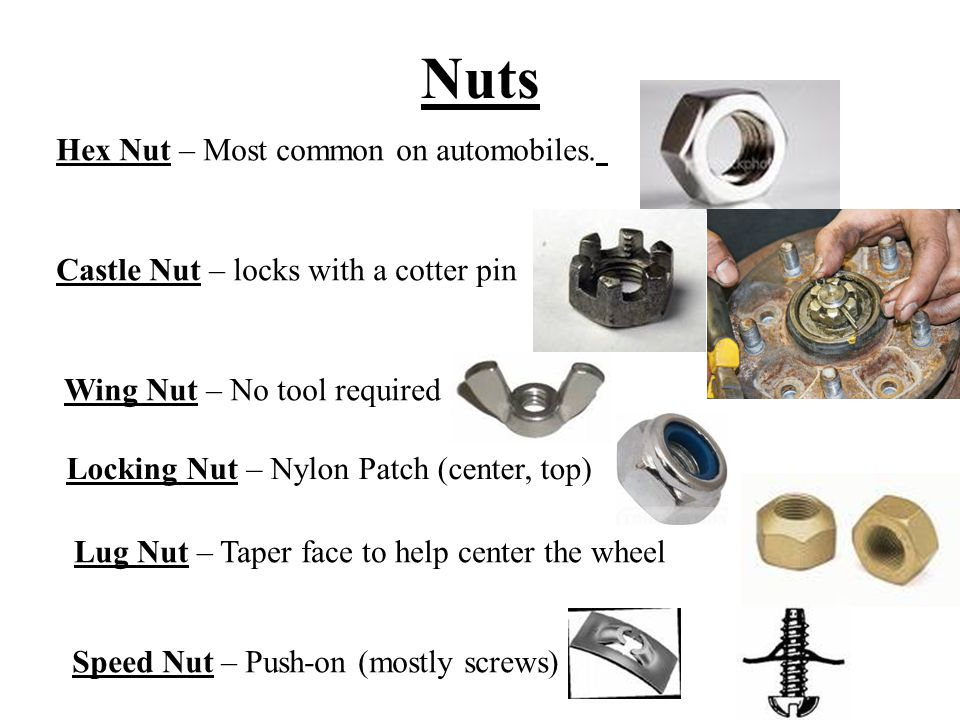 Nuts Hex Nut – Most common on automobiles. Castle Nut – locks with a cotter pin Wing Nut – No tool required Locking Nut – Nylon Patch (center, top) Lu