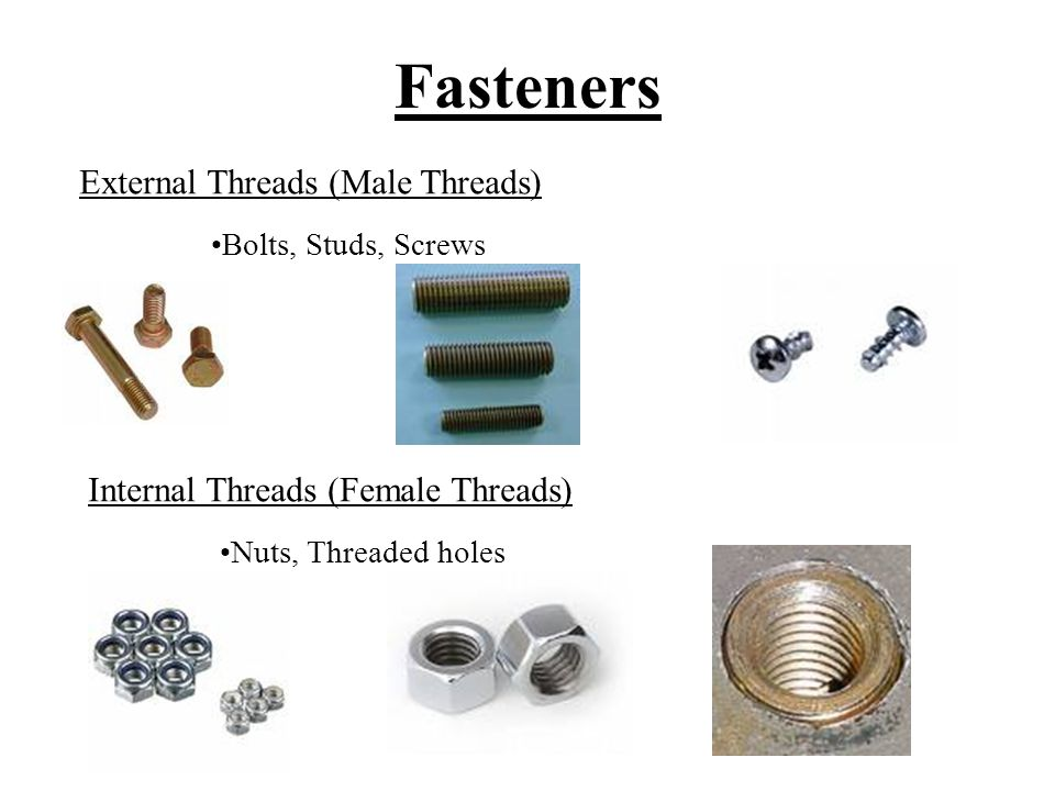 Fasteners Imperial Threaded Fasteners UNC – Unified National Coarse. UNF – Unified National Fine.