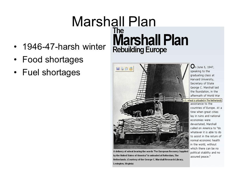 Marshall Plan 1946-47-harsh winter Food shortages Fuel shortages