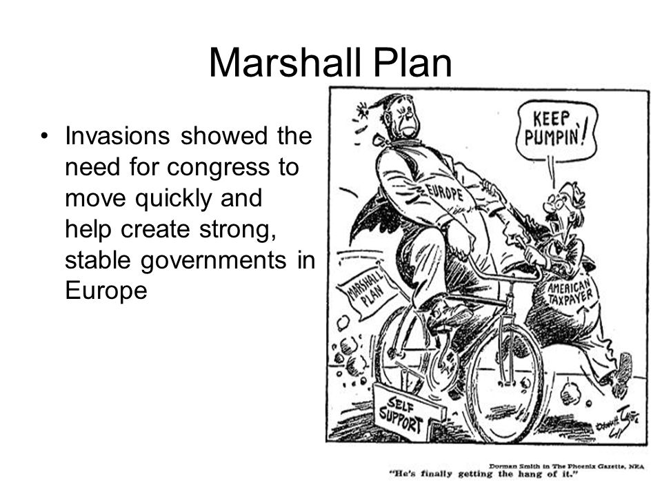 Marshall Plan Invasions showed the need for congress to move quickly and help create strong, stable governments in Europe