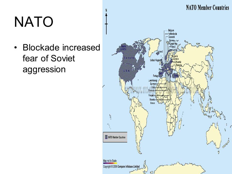 NATO Blockade increased fear of Soviet aggression