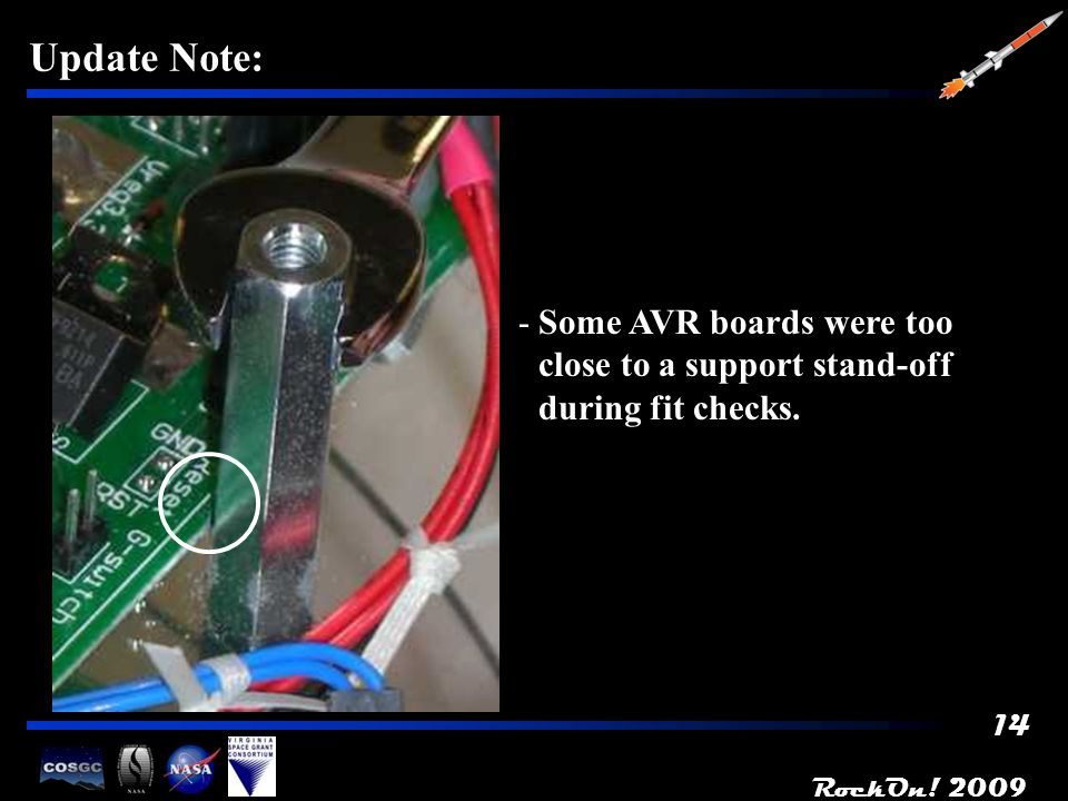 14 Update Note: -Some AVR boards were too close to a support stand-off during fit checks.