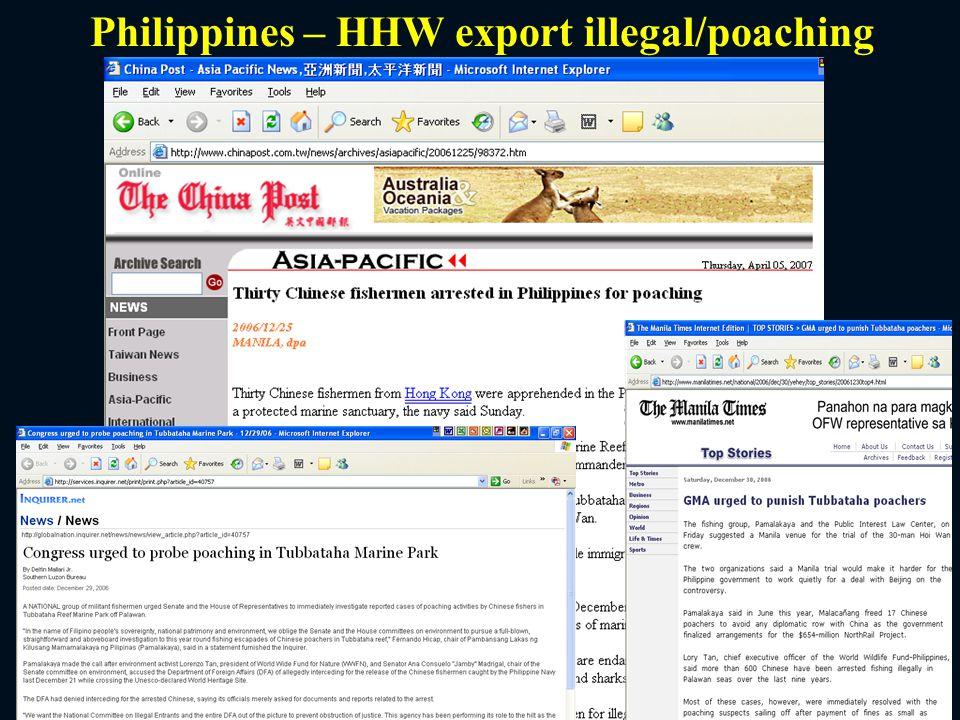 Philippines – HHW export illegal/poaching