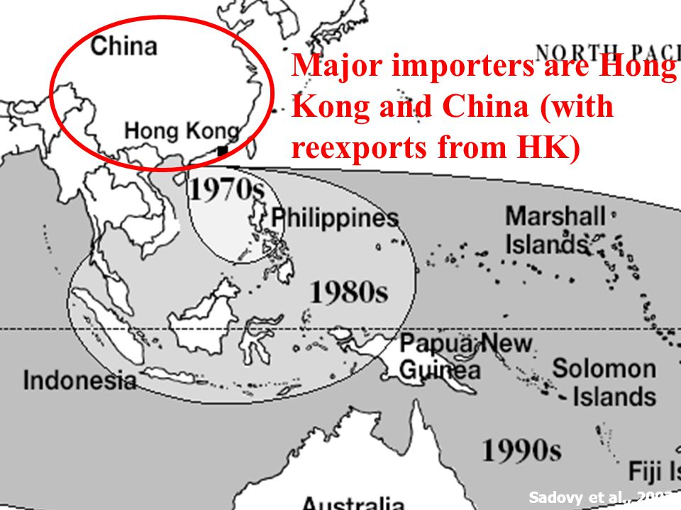 Sadovy et al., 2003a Major importers are Hong Kong and China (with reexports from HK)