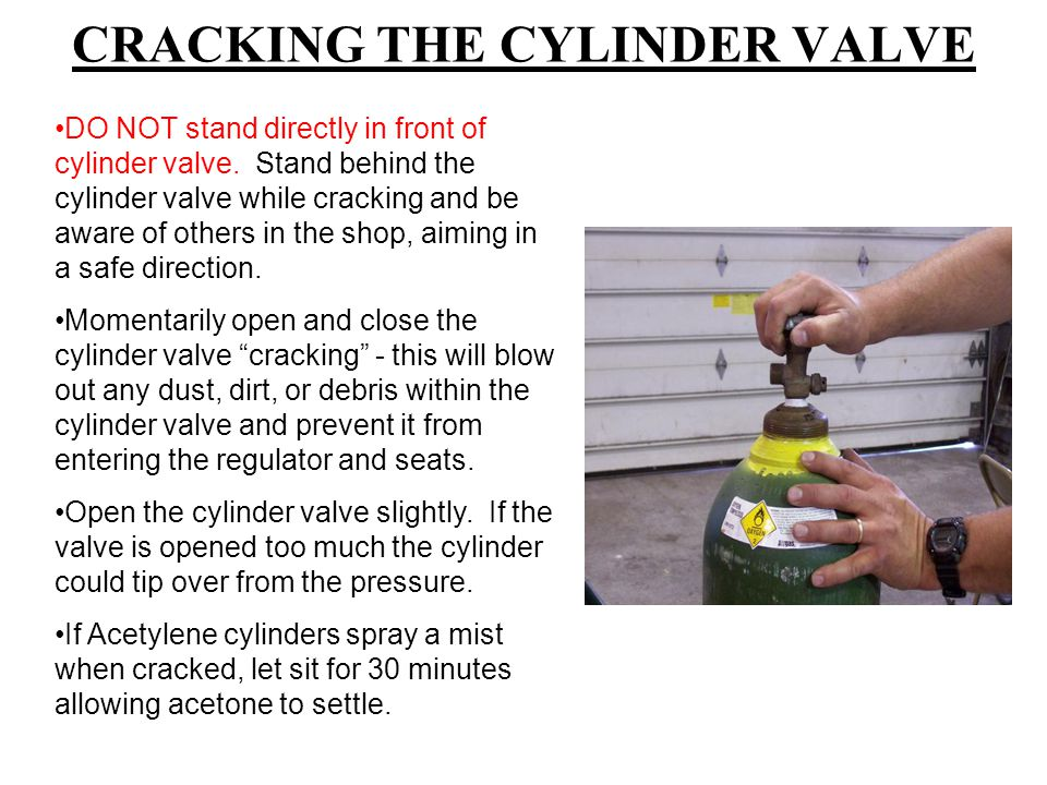 CRACKING THE CYLINDER VALVE DO NOT stand directly in front of cylinder valve.